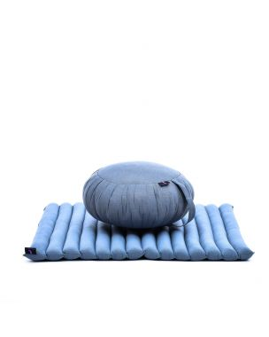 Leewadee Meditation Cushion Set: Round Zafu Pillow And Large Square Zabuton Mat For Floor Seating Eco-Friendly Organic And Natural, Kapok, grey