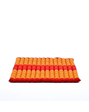 Leewadee Meditation Cushion Large Square Zabuton Mat For Floor Seating Eco-Friendly Organic and Natural, Kapok, orange red