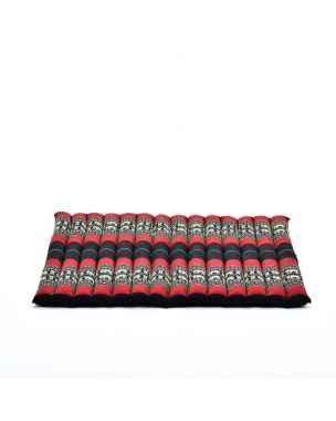 Leewadee Meditation Cushion Large Square Zabuton Mat For Floor Seating Eco-Friendly Organic and Natural, 27x31x2 inches, Kapok, black red