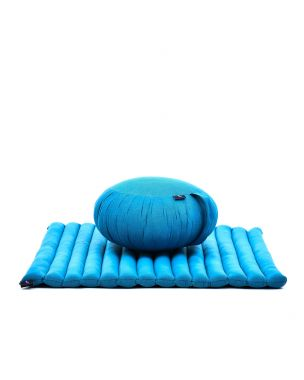 Leewadee Meditation Cushion Set: Round Zafu Pillow And Large Square Zabuton Mat For Floor Seating Eco-Friendly Organic And Natural, Kapok, light blue
