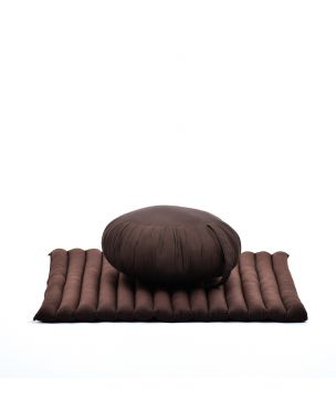 Leewadee Meditation Cushion Set: Round Zafu Pillow And Large Square Zabuton Mat For Floor Seating Eco-Friendly Organic And Natural, Kapok, brown