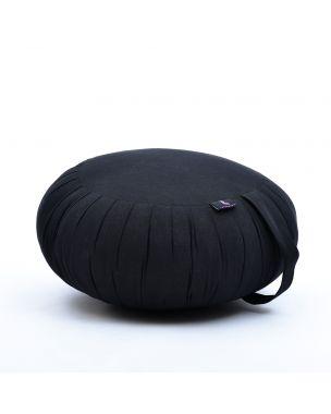 Leewadee Meditation Cushion Round Zafu Pillow For Floor Seating Eco-Friendly Organic and Natural, 16x8 inches, Kapok, black