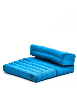 Leewadee Foldable Meditation Floor Seat 2 in 1 Set Meditation Pillow and Cushion Underlay In One Eco-Friendly Organic and Natural, Kapok, light blue