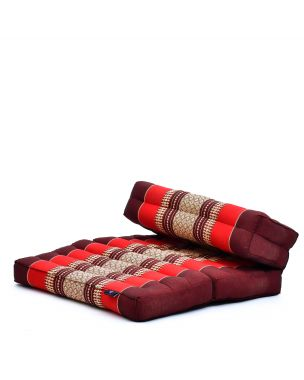 Leewadee Foldable Meditation Floor Seat 2 in 1 Set Meditation Pillow and Cushion Underlay In One Eco-Friendly Organic and Natural, Kapok, red
