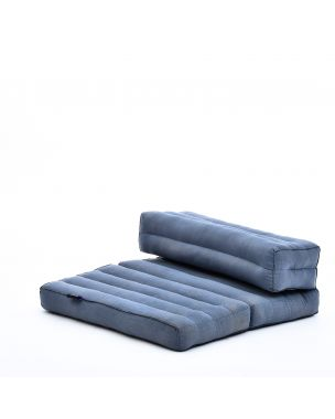 Leewadee Foldable Meditation Floor Seat 2 in 1 Set Meditation Pillow and Cushion Underlay In One Eco-Friendly Organic and Natural, Kapok, anthracite