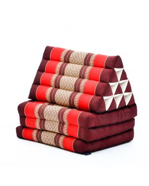 Leewadee Foldout Triangle Thai-Cushion Floor-Seat With Back-Rest TV Pillow Lounge-r Foldable Out-Door Mattress , 67x21x3 inches, Kapok, brown red