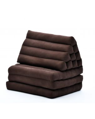Leewadee Foldout Triangle Thai-Cushion Floor-Seat With Back-Rest TV Pillow Lounge-r Foldable Out-Door Mattress ,  Kapok, brown