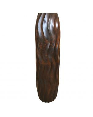 Leewadee Tall Big Floor Standing Vase For Home Decor 30 inches, Mango Wood, brown