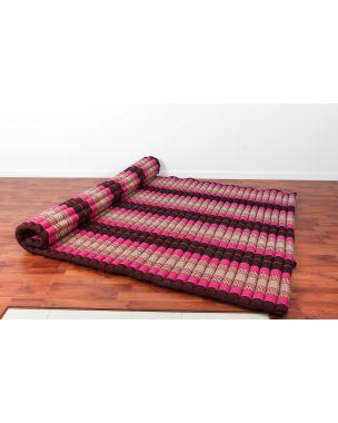 Leewadee Roll-Up Thai Mattress, 79x59x2 inches, Guest Bed Yoga Floor Mat Thai Massage Pad XL Twinsize Eco-Friendly Organic and Natural,  Kapok, auburn pink