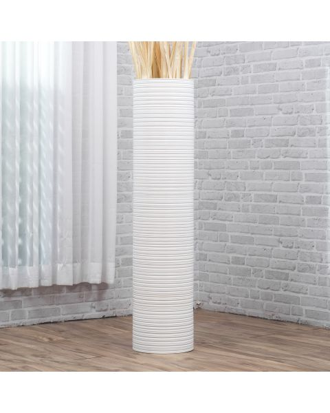 Leewadee Tall Big Floor Standing Vase For Home Decor 44 inches, Mango Wood, white