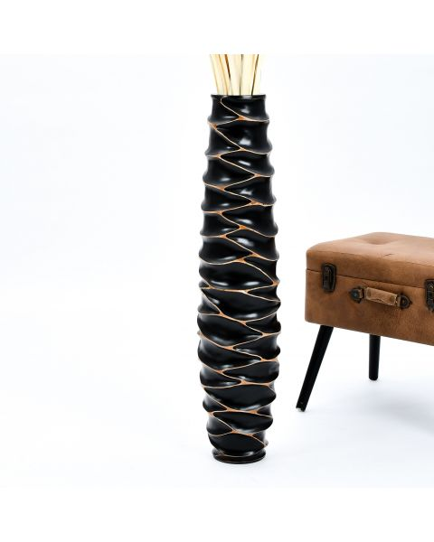 Leewadee Tall Big Floor Standing Vase For Home Decor 36 inches, Mango Wood, black