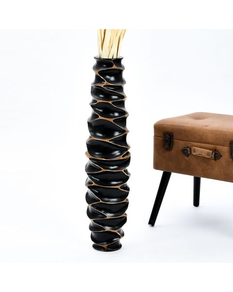 Leewadee Tall Big Floor Standing Vase For Home Decor 30 inches, Mango Wood, black