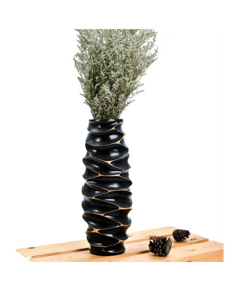 Leewadee Small Floor Standing Vase For Home Decor Centerpiece Table Vase, 6x16 inches, Mango Wood, black