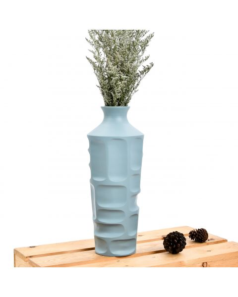 Leewadee Small Floor Standing Vase For Home Decor Centerpiece Table Vase, 6x16 inches, Mango Wood, blue