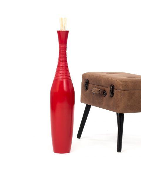 Leewadee Tall Big Floor Standing Vase For Home Decor 75 cm, Mango Wood, red