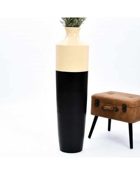 Leewadee Tall Big Floor Standing Vase For Home Decor 44 inches, Mango Wood, black brown