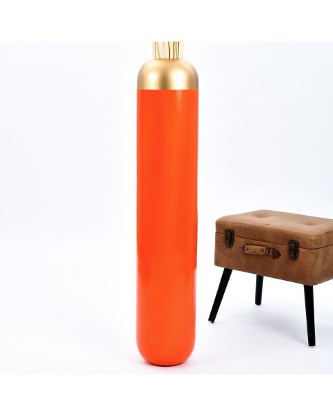 Leewadee Tall Big Floor Standing Vase For Home Decor 44 inches, Mango Wood, orange