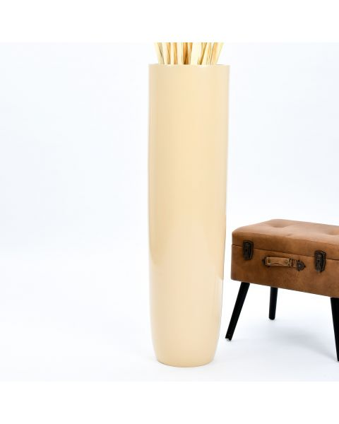 Leewadee Tall Big Floor Standing Vase For Home Decor 44 inches, Mango Wood, cream