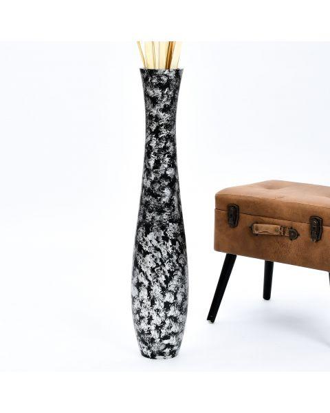 Leewadee Tall Big Floor Standing Vase For Home Decor 90 cm, Mango Wood, silver-coloured