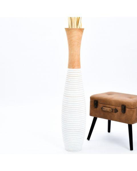 Leewadee Tall Big Floor Standing Vase For Home Decor 111 cm, Mango Wood, ecru white