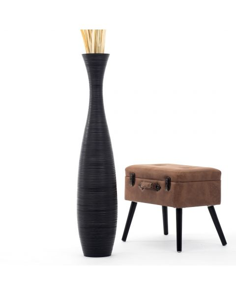 Leewadee Tall Big Floor Standing Vase For Home Decor 44 inches, Mango Wood, black