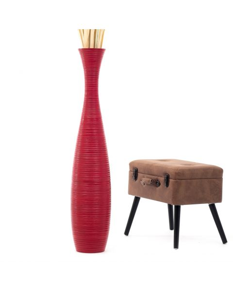 Leewadee Tall Big Floor Standing Vase For Home Decor 44 inches, Mango Wood, red