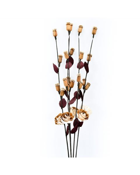 Leewadee Dried coloured palm leaf bunch for floor vases decorative grass twig bunch, 86 cm, Sesbania, ecru