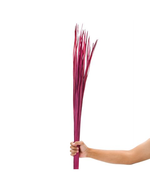 Leewadee Dried coloured palm leaf bunch for floor vases decorative grass twig bunch, 47 inches, Dried Natural-Grass, pink