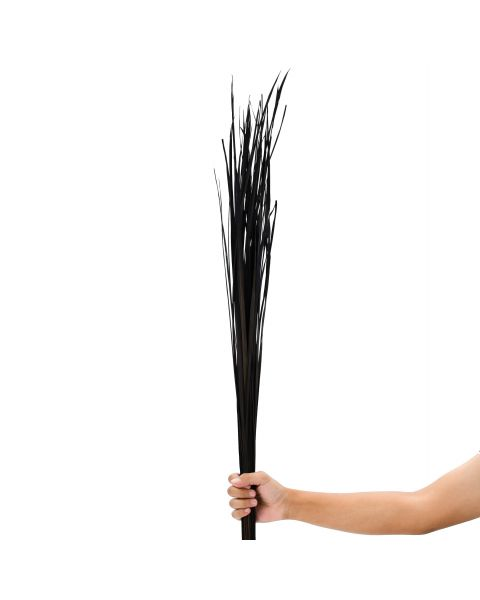 Leewadee Dried coloured palm leaf bunch for floor vases decorative grass twig bunch, 47 inches, Dried Natural-Grass, black