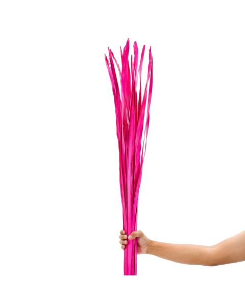 Leewadee Dried coloured palm leaf bunch for floor vases decorative grass twig bunch, 47 inches, Palm Leaf, pink