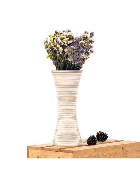 Leewadee Small Floor Standing Vase For Home Decor Centerpiece Table Vase, 7x16 inches, Mango Wood, white wash