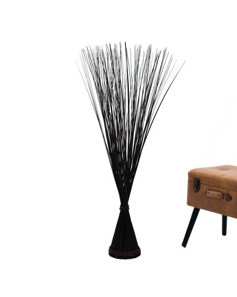 Leewadee Decorative freestanding dried bunch, 47 inches, Dried Natural-Grass, black