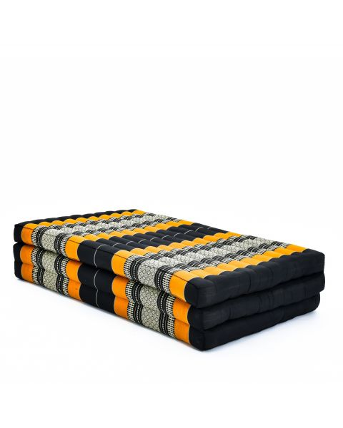 Leewadee Large Foldable Thai Mattress, 200x110x8 cm, Guest Bed Tri-Fold Yoga Floor Mat Thai Massage Pad TV Floor Seat with Backrest Game Chair Eco-Friendly Organic and Natural,  Kapok, black orange