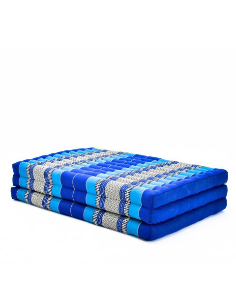 Leewadee Large Foldable Thai Mattress, 200x110x8 cm, Guest Bed Tri-Fold Yoga Floor Mat Thai Massage Pad TV Floor Seat with Backrest Game Chair Eco-Friendly Organic and Natural,  Kapok, blue