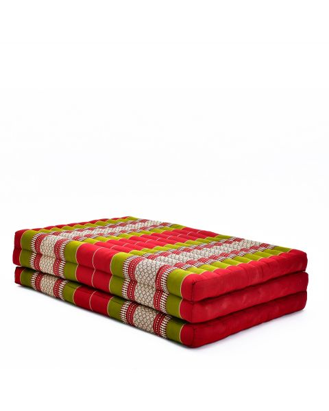 Leewadee Large Foldable Thai Mattress, 200x110x8 cm, Guest Bed Tri-Fold Yoga Floor Mat Thai Massage Pad TV Floor Seat with Backrest Game Chair Eco-Friendly Organic and Natural,  Kapok, green red