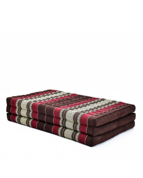 Leewadee Large Foldable Thai Mattress, 200x110x8 cm, Guest Bed Tri-Fold Yoga Floor Mat Thai Massage Pad TV Floor Seat with Backrest Game Chair Eco-Friendly Organic and Natural,  Kapok, brown red