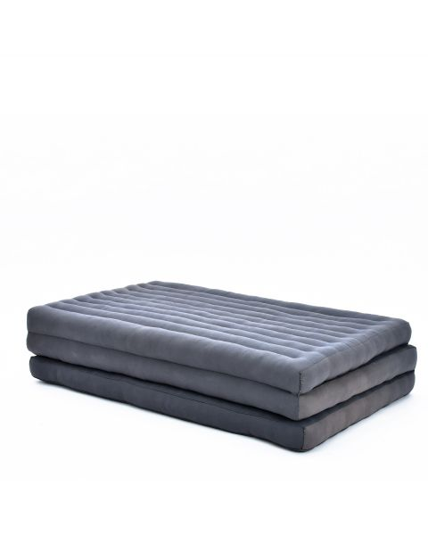 Leewadee Large Foldable Thai Mattress, 200x110x8 cm, Guest Bed Tri-Fold Yoga Floor Mat Thai Massage Pad TV Floor Seat with Backrest Game Chair Eco-Friendly Organic and Natural,  Kapok, anthracite