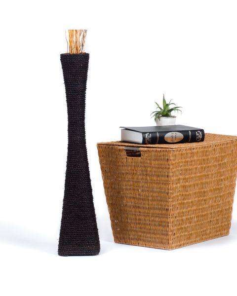 Leewadee Tall Big Floor Standing Vase For Home Decor 75 cm, Water Hyacinth, black