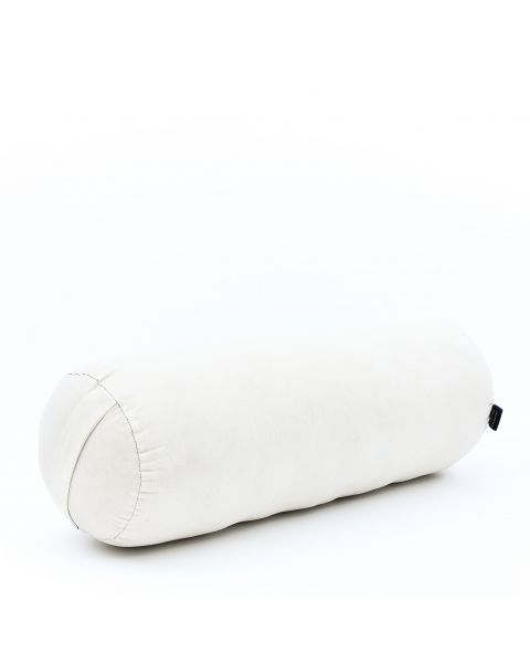 Leewadee Long Yoga Bolster Supportive Pilates Roll Cushion Neck Pillow Eco-Friendly Organic and Natural, 25.5x10x10 inches, Kapok, white