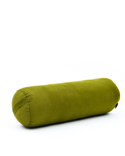 Leewadee Long Yoga Bolster Supportive Pilates Roll Cushion Neck Pillow Eco-Friendly Organic and Natural, 65x25x25 cm, Kapok, green