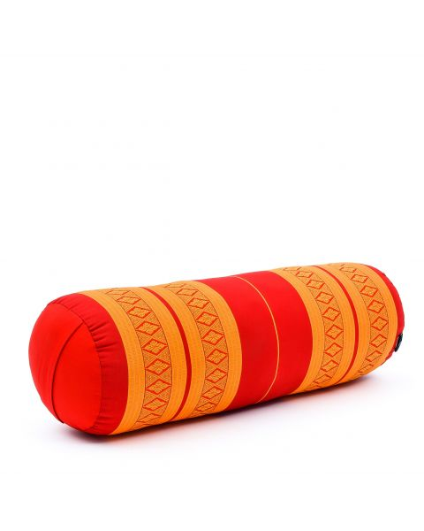 Leewadee Long Yoga Bolster Supportive Pilates Roll Cushion Neck Pillow Eco-Friendly Organic and Natural, 65x25x25 cm, Kapok, orange red