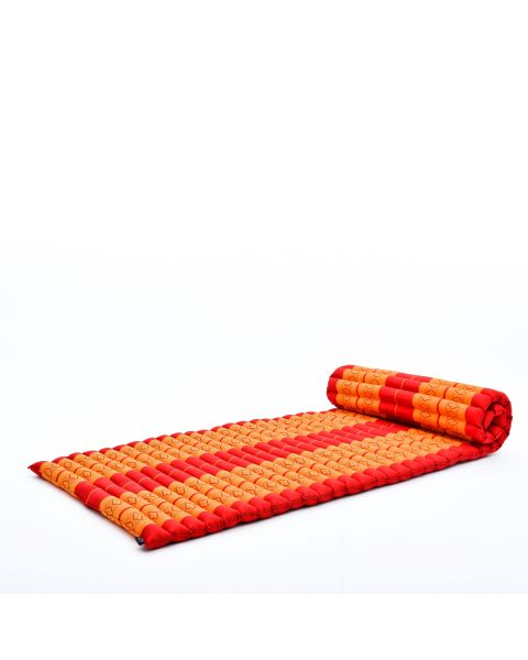 Leewadee Roll-Up Thai Mattress Guest Bed Yoga Floor Mat Thai Massage Pad Eco-Friendly Organic And Natural, 79x30x2 inches, Kapok, orange red