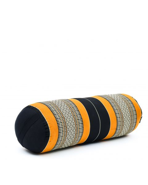 Leewadee Long Yoga Bolster Supportive Pilates Roll Cushion Neck Pillow Eco-Friendly Organic and Natural, 65x25x25 cm, Kapok, black orange