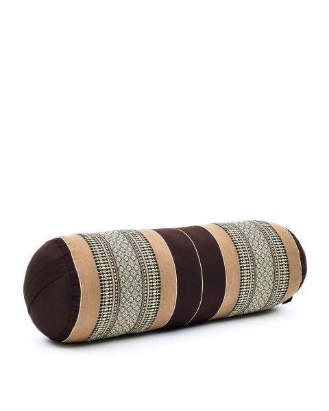 Leewadee Long Yoga Bolster Supportive Pilates Roll Cushion Neck Pillow Eco-Friendly Organic and Natural, 65x25x25 cm, Kapok, brown