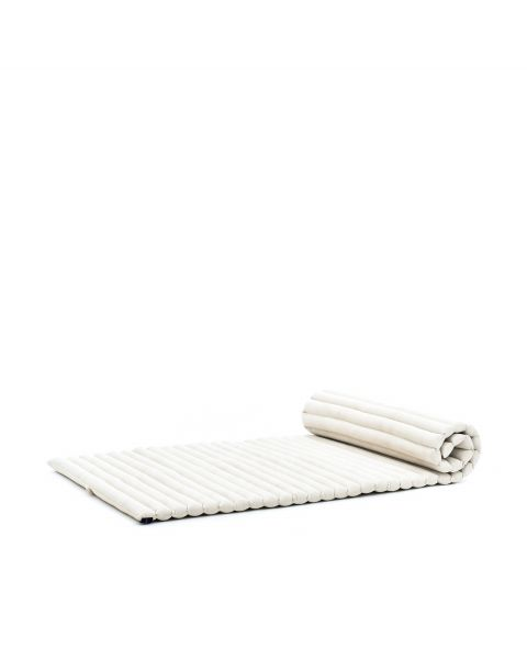 Leewadee Roll-Up Thai Mattress, 200x76x5 cm, Guest Bed Yoga Floor Mat Thai Massage Pad Eco-Friendly Organic and Natural,  Kapok, white