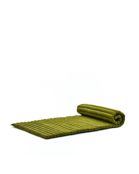 Leewadee Roll-Up Thai Mattress Guest Bed Yoga Floor Mat Thai Massage Pad Eco-Friendly Organic And Natural, 79x30x2 inches, Kapok, green