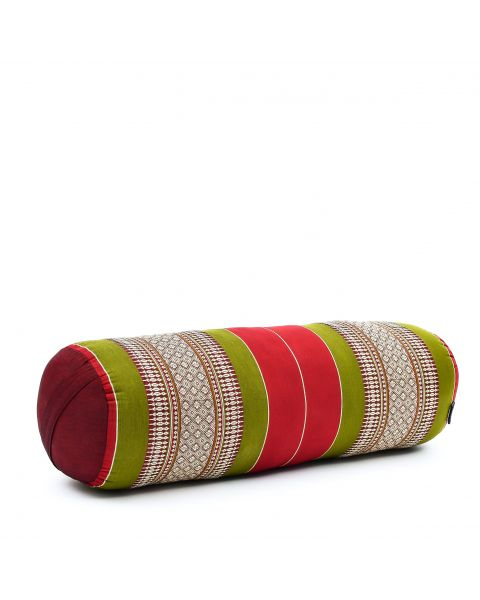 Leewadee Long Yoga Bolster Supportive Pilates Roll Cushion Neck Pillow Eco-Friendly Organic and Natural, 65x25x25 cm, Kapok, green red