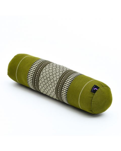 Leewadee Small Yoga Bolster Pilates Supportive Roll Cushion Neck Pillow Eco-Friendly Organic and Natural, 21.5x6x6 inches, Kapok, green
