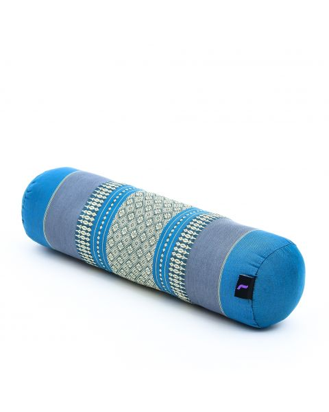Leewadee Small Yoga Bolster Pilates Supportive Roll Cushion Neck Pillow Eco-Friendly Organic and Natural, 55x15x15 cm, Kapok, light blue