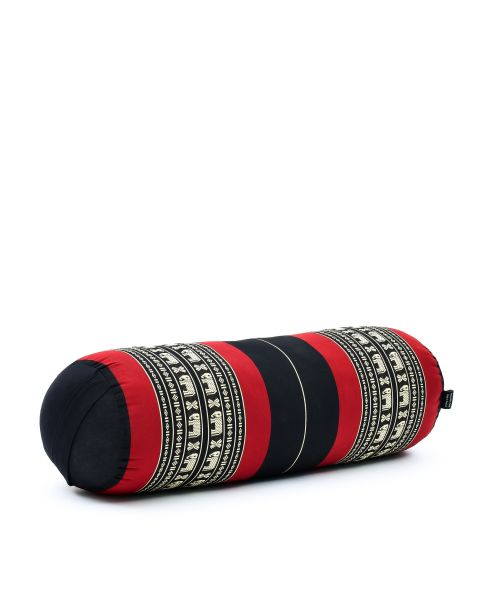 Leewadee Long Yoga Bolster Supportive Pilates Roll Cushion Neck Pillow Eco-Friendly Organic and Natural, 25.5x10x10 inches, Kapok, black red